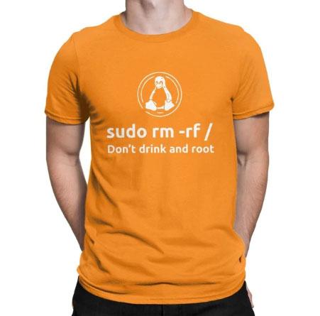 Coder Programmer Linux Root Sudo Orange T-shirt