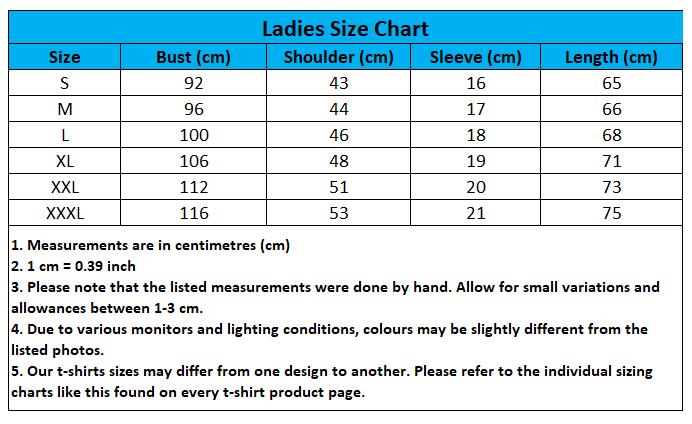 Craewaz Ladies Size Chart 1