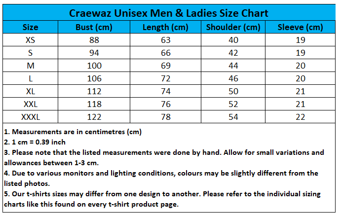 Craewaz Unisex Men & Ladies Size Chart 10-1