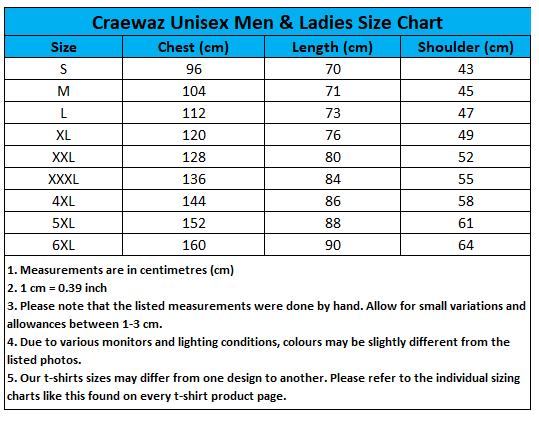Craewaz Unisex Men & Ladies Size Chart 9