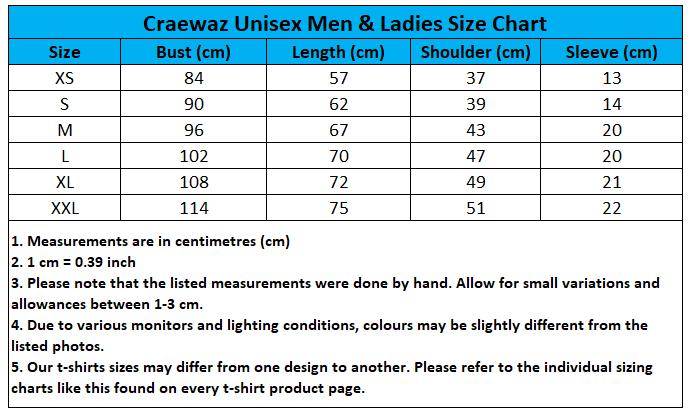 Craewaz Unisex Men and Ladies Size Chart 3-1