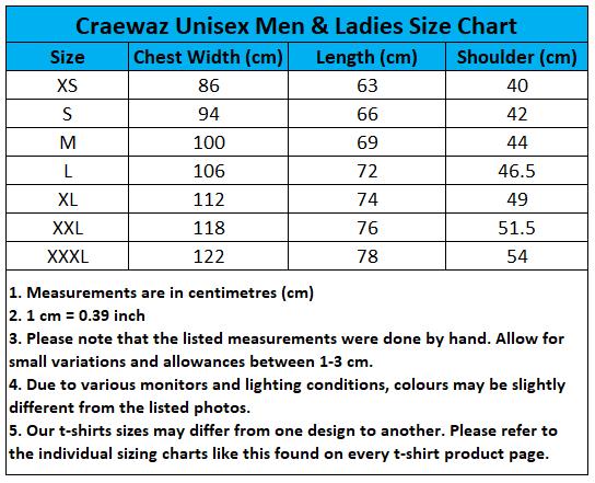 Craewaz Unisex Men and Ladies Size Chart 5-2