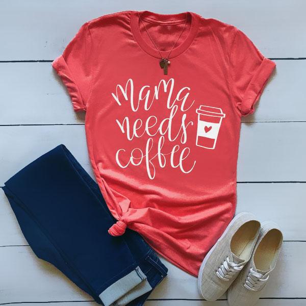 Mama Needs Coffee Red T-Shirt