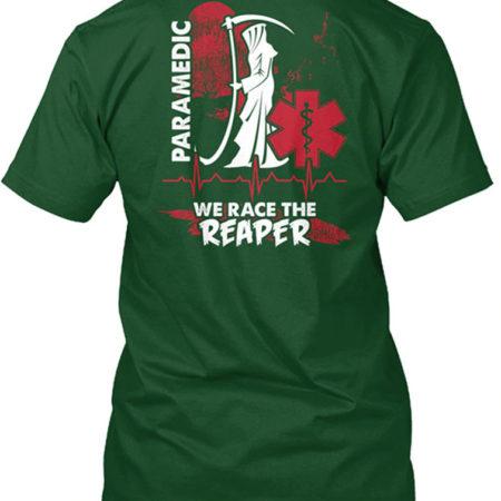 Paramedic We Race The Reaper Lifesaver Green T-Shirt