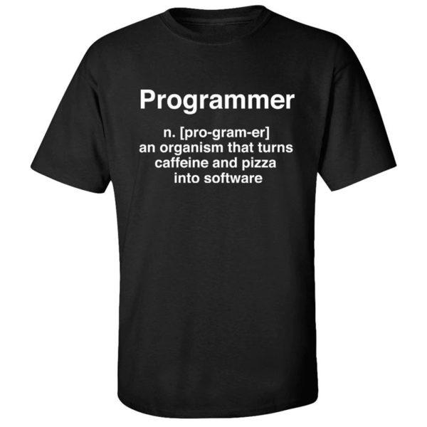 Programmer Organism Caffeine Pizza Black T-Shirt