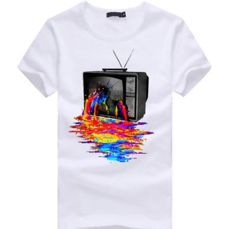 TV Color Bleeding Graphic T-Shirt